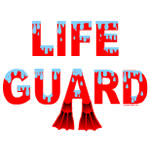 Red Life Guard Text
